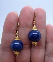 Dangle 12mm Smooth Blue Lapis Lazuli Silver Earrings Leverbacks
