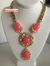 New Juicy Couture Large Drama Gemstone Jeweled Rare Vintage Chunky Necklace Pink