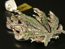 Mens Marijuana Green Leaf Diamond Charm Pendant 8.95 Ct