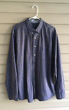 Gap Men's XL army green and blue plaid long sleeve button up shirt with collar