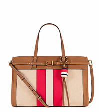 Authentic Tory Burch 35429 Natural Ivory Nut Canvas Suede Satchel Purse