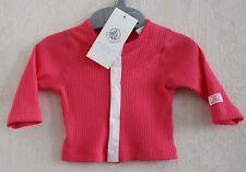Neuf : Cardigan PETIT BATEAU 1 mois rose vif coton côtelé pour bébé fille