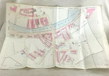 1890 Antik Map Of Huddersfield Fluss Colne Viktorianisch Wolle Mühle Hand Farbig