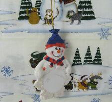 "Snowman Resin Christmas Ornament Lightly Glittered 4"" Long"
