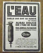 PUBLICITE ADOUCISSEUR EAU FILTRE PERMO  advert 1924