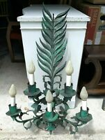 Vintage Tole Light Fixture 5 Light Large Fern Wall Sconce 3'h Green Oversize