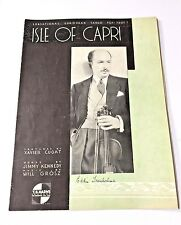 "Vintage ""Isle Of Capri"" Sheet Music Dated"