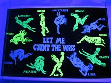 Vintage 1970 Horoscope Sex Positions Blacklight Poster LET ME COUNT THE WAYS