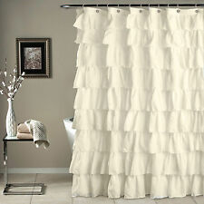 Beige Crushed Ruffle Fabric Shower Curtain 72 InW X In L