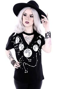 Restyle Gothic Shirt Bluse Nugoth Moon Phases Mond Witchy Okkult Konstellation