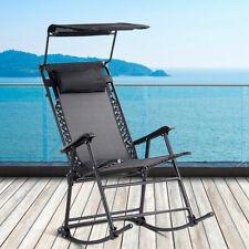 Folding Rocking Chair Rocker Porch Zero Gravity Furniture Sunshade Canopy Black