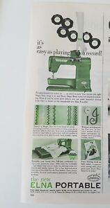 1954 green Elna portable sewing machine easy as playing a record vintage ad