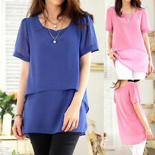 Chiffon Scoop Neck Classic Tops & Shirts for Women