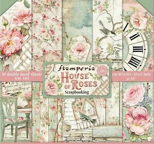HOUSE OF ROSES Collection 12x12 Inch Paper Pack STAMPERIA SBBL66 New