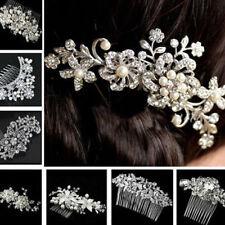 1Pcs Bridal Jewellery Rhinestone Crystal Wedding Flower Pearls Hair Comb Clip