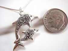 Marcasite Dolphin Mother & Baby Necklace 925 Sterling Silver Corona Sun Jewelry