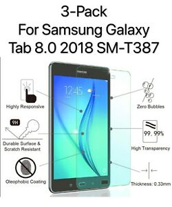 3 PACK Tempered Glass Screen Protector for Samsung Galaxy Tab A 8.0 2018 SM-T387