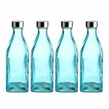 Drinkware Glassware Set 4PC Glass Square Drinking Bottles w Stainless Steel Lid