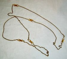 ANTIQUE VICTORIAN CHATELAINE POCKET WATCH CHAIN W/ AMBER GLASS ACCENT STONES