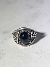 and Onyx Ring Size 5 3/4 K Maker Mark Vintage Sterling Silver