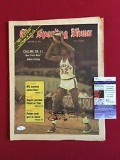 """Julius Erving (Dr.J.), """"Autographed"""" (JSA) 1974 """"Sporting News"""""""