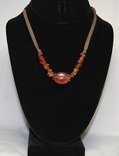 Vintage Carnelian Agate Spot Brass Tone Beads Leather Strip Necklace Claw Clasp