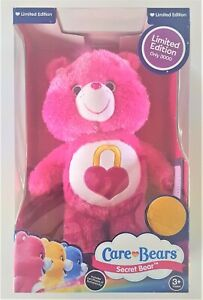 New Licensed CARE BEARS Secret Bear LIMITED EDITION Glittery Pink Plush Soft Toy