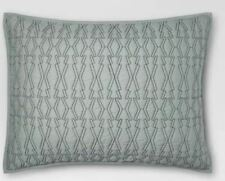 ONE Project 62 Geo Contrast Stitch Sham Green STANDARD Quilted Texture