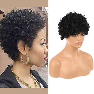 Afro Women Curly Full Hair Wig Wavy Black Wig Synthetic Short Bib Wigs Cosplay