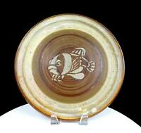 "STUDIO ART POTTERY WAX RESIST FISH DESIGN WHEEL THROWN STONEWARE 11 5/8"" PLATE"