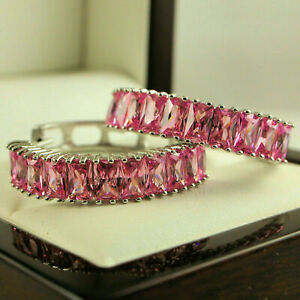 2 CT Radiant Cut Pink Sapphire Pretty Huggie Hoop Earrings 14k White Gold Finish