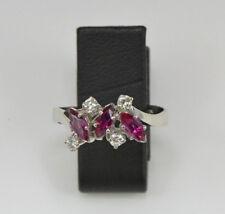 Diamantring mit 3 Rubine 14 Kt. Gold Luxusring Ringe Brillant Damen Ring Nr.1536
