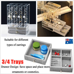 Earring Tray Drawer Acrylic Display Necklace Rack Stand Organizer Holder Storage