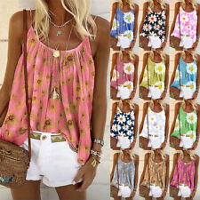 Womens Swing Vest Sleeveless Cami Top Ladies Strappy Flared plus size Tops Shirt