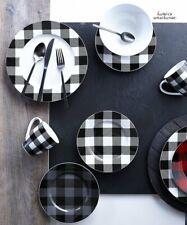 16 Pcs Dinnerware Set Plaid Black Cottage Kitchen Dining Plates Bowls Dishes Mug