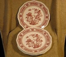 "set of (4) Masons Mason's ""Manchu Pink"" Luncheon Plates W/Butterfly Scalloped"