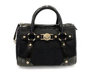 Vintage Versace Doctor Bag Medusa Monogram Black Textile Leather