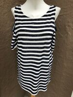 New Chico's Blue White Sequin Striped Cold Shoulder Top Sz 2 = Large L 12 14 NWT