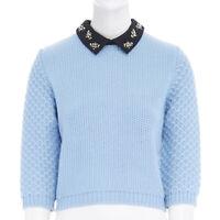 MIU MIU light blue chunky knit wool crystal embellished collar sweater top IT40