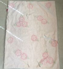 Cotton Chenille Fabric Cutter Piece for Project Baby Pink Cottage Rose Floral
