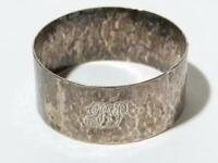 Antique Solid Silver Napkin Ring 1933 with Hammered Pattern and JP Initials