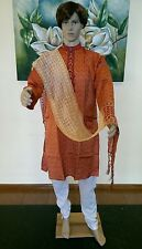 "42"" L 110cm Silk Sherwani Suit Indian Bollywood Mens Kurta Orange Gold KA14"