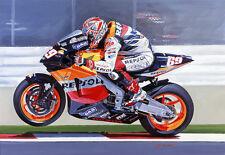 Nicky Hayden Repsol Honda MotoGP Laguna Seca Motorbike Racing Art Painting Print