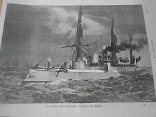 Gravure 1885 - Le nouvel Aviso-Torpilleur Francais La Bombe