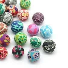 30 Mixte Perles Pâte Polymère Motif Fleur Rond 14mm-15mm Dia.B26481