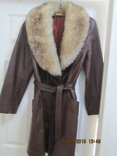 Women's Vintage Leather Jacket with fur collar pre-owned
