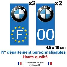 Stickers autocollant plaque d'immatriculation  BMW voiture Fond bleu, BLEU