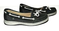 Sperry Top Sider Black Silver Laces Womens Cushioned Slip On Shoes Size 6M
