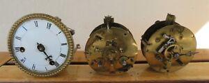 Horloge ancienne lot de 3 mouvements Paris pour pendule borne Napoléon 3 marbre