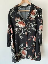 Ladies Zara Size Medium Black Floral Shirt Size 10-12 Long